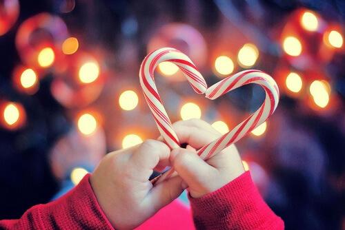 Adventi hálanaptár - nyalóka szív és karácsonyi fények